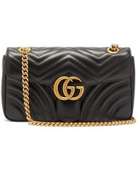 4f1b8cb1e8dc83 Gucci Gg Marmont Mini Quilted-leather Cross-body Bag in Black - Lyst