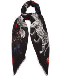 Gucci | Space And Animal-print Wool And Silk-blend Scarf | Lyst