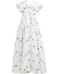 Cecile Bahnsen Ricca Bow Trim Embroidered Cotton Blend Dress