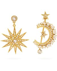Oscar de la Renta - Moon And Star Pavé-crystal Mismatched Earrings - Lyst