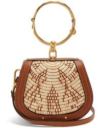 Chloé - Nile Small Leather And Raffia Cross-body Bag - Lyst