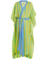 Diane von Furstenberg - Striped Linen Blend Wrap Kaftan - Lyst