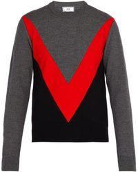 AMI - Chevron Panelled Merino Wool Sweater - Lyst