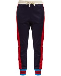 Gucci - Side-striped Mid-rise Jersey Trousers - Lyst