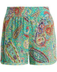 Etro - Paisley Print Silk Crepe Shorts - Lyst