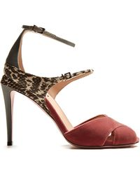 Fendi - Snakeskin-trimmed Velvet Sandals - Lyst