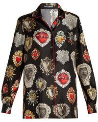 Dolce & Gabbana | Heart-print Point-collar Silk Pyjama Shirt | Lyst