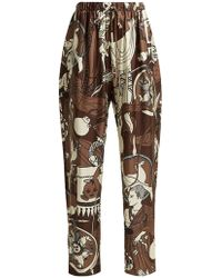 Edward Crutchley - Printed Silk Wide Leg Trousers - Lyst