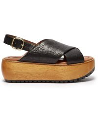 Marni - Slingback Leather Flatform Sandals - Lyst