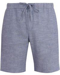 Frescobol Carioca - Drawstring-waist Slim-leg Linen-blend Shorts - Lyst