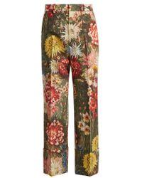 Gucci - Impressionist Garden-print Wool Trousers - Lyst