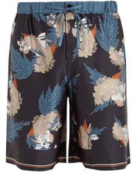 Meng   Floral Leaf-print Silk-satin Pyjama Shorts   Lyst