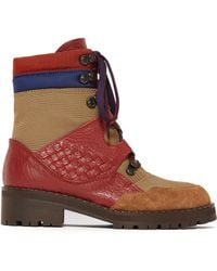 Bottega Veneta - Intrecciato Lace Up Leather Canvas Boots - Lyst