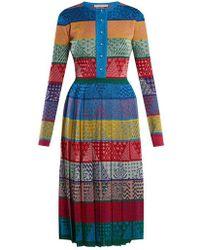 Mary Katrantzou - Cecile Striped Wool-knit Midi Dress - Lyst