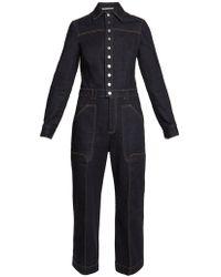 Stella McCartney - Aio Point-collar Wide-leg Jumpsuit - Lyst