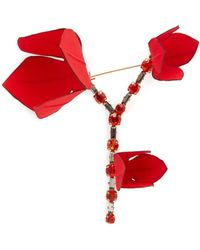 Marni - Flower Crystal Embellished Brooch - Lyst