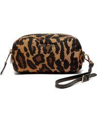 Miu Miu - Leopard Print Faille Cosmetics Case - Lyst