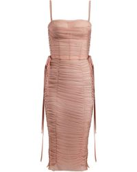 Dolce & Gabbana - Laced Ruched Tulle Dress - Lyst