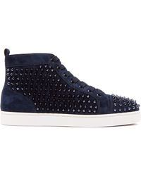 c12ee6b798da Christian Louboutin - Louis Flat Spiked Suede Sneakers - Lyst