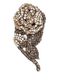 Rochas - - Crystal Embellished Rose Brooch - Womens - Silver - Lyst