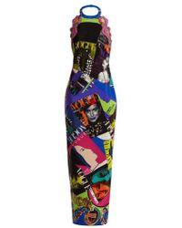 Versace - Vogue-print Halterneck Gown - Lyst