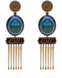 Gucci - Gg Scarab And Tassel Drop Clip On Earrings - Lyst