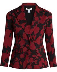 Oscar de la Renta - Single-breasted Floral-brocade Jacket - Lyst