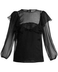 Rochas - Sheer Ruffle Silk Blouse - Lyst