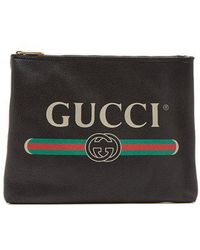 Gucci - Logo-print Leather Pouch - Lyst
