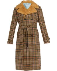 Gucci - Checked Faux Shearling Collar Coat - Lyst