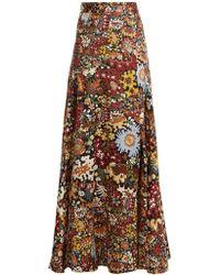 Peter Pilotto - Floral Print Silk Maxi Skirt - Lyst