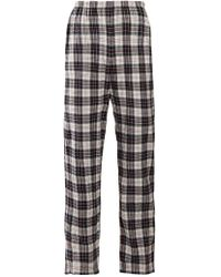 Balenciaga - Checked High Rise Brushed Cotton Trousers - Lyst