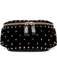 Valentino - Rockstud Spike Quilted Velvet And Leather Belt Bag - Lyst