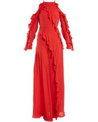 Elie Saab - Ruffle Trimmed Silk Crepe Gown - Lyst