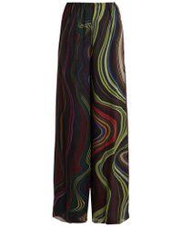 By. Bonnie Young - Asylum-print Wide-leg Silk-chiffon Trousers - Lyst