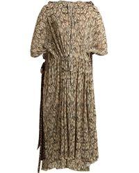 Balenciaga - Drawstring Waist Pleated Dollar Print Dress - Lyst
