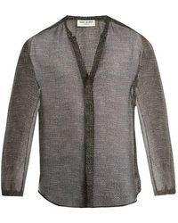 Saint Laurent - Stripe-print Grandad-collar Silk Shirt - Lyst