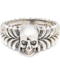Emanuele Bicocchi - Skull Centre Sterling Silver Ring - Lyst