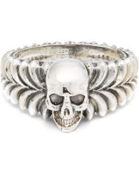 Emanuele Bicocchi - Skull-centre Sterling-silver Ring - Lyst