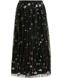 RED Valentino - Floral-embroidered Pleated Tulle Skirt - Lyst