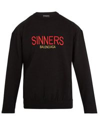 Balenciaga - Sinners-embroidered Crew-neck Wool-blend Sweater - Lyst