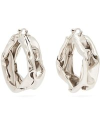 Jil Sander - Hammered Sterling-silver Hoop Earrings - Lyst