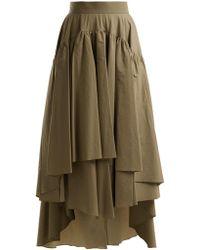 Brunello Cucinelli - Layered Cotton Blend Midi Skirt - Lyst