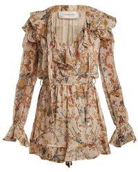 Zimmermann - Painted Heart Cascade Floral-print Silk Playsuit - Lyst