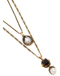 Alexander McQueen - Onyx, Faux-pearl And Crystal-embellished Necklace - Lyst