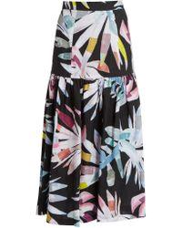 Mara Hoffman | Xylophone Black-print Gathered Linen Skirt | Lyst