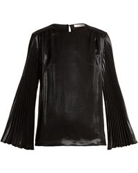 Christopher Kane | Pleated-sleeved Silk-blend Top | Lyst