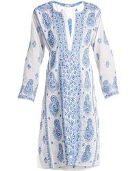 Juliet Dunn   Paisley-embroidered Cotton-voile Kaftan   Lyst