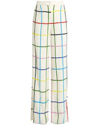 Mary Katrantzou - Donnis Grid-print Wide-leg Trousers - Lyst