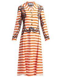 Prada - Striped Twill Dress - Lyst